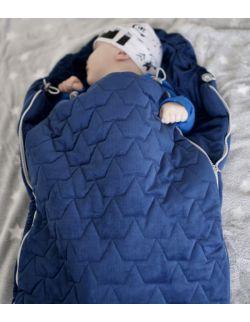 Be velvet! Śpiworek zimowy - navy (newborn 0-12mcy)