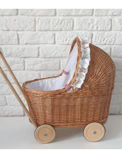 Wiklinowy wózek dla lalek, pchacz, naturalny + pościel