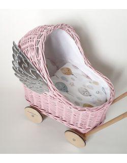 Wiklinowy różowy wózek dla lalek ze skrzydłami, pchacz+ pościel