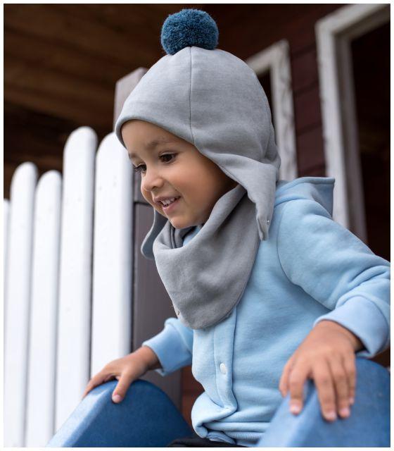Zimowa dziecięca czapka pilotka szara z pomponem