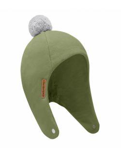 Zimowa dziecięca czapka pilotka oliwka z pomponem
