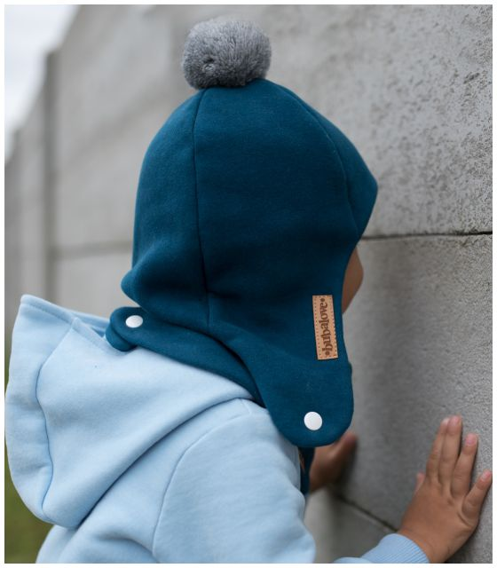 Zimowa dziecięca czapka pilotka morska z pomponem