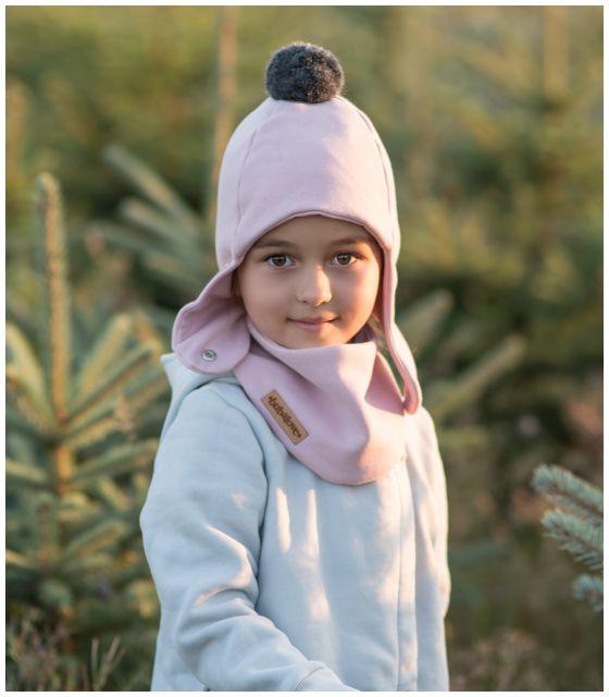 Zimowa dziecięca czapka pilotka jasny róż z pomponem