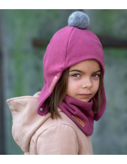 Zimowa dziecięca czapka pilotka ciemny róż z pomponem