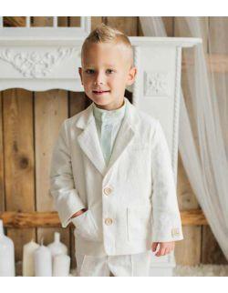 Biała marynarka dla chłopca z lnu