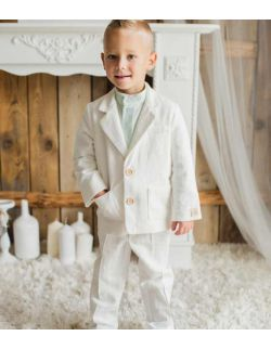 Luksusowy biały komplet dla chłopca z lnu