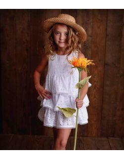 Dolce biała sukienka dla dziewczynki z falbanami