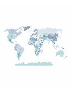Naklejka MAPA polityczna - niebieska M ( 130x85 cm )