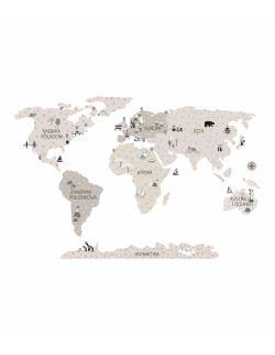 Naklejka MAPA świata -beżowa S ( 90 cm x 60 cm)