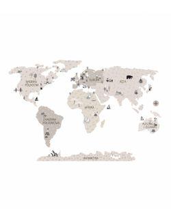 Naklejka MAPA świata -beżowa M ( 130 cm x 85 cm)