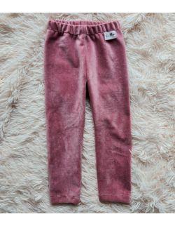 Spodnie velvet róż