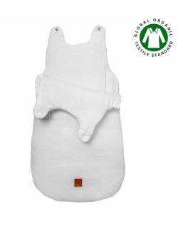 Hi Little One - śpiworek z organicznej BIO bawełny oddychającej GOTS NEWBORN SLEEPBAG WHITE muslin cotton TOG 3,5 wiek 0 m+