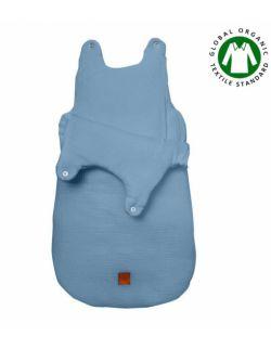 Hi Little One - śpiworek z organicznej BIO bawełny oddychającej GOTS NEWBORN SLEEPBAG BLUE muslin cotton TOG 3,5 wiek 0 m+