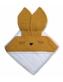 Hi Little One - Ręcznik z kapturem 100 x 100 SLEEPY BUNNY hooded bath towel Mustard