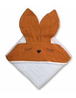 Hi Little One - Ręcznik z kapturem 100 x 100 SLEEPY BUNNY hooded bath towel Pumpkin