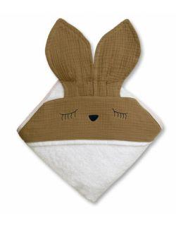Hi Little One - Ręcznik z kapturem 100 x 100 SLEEPY BUNNY hooded bath towel Dark Oak