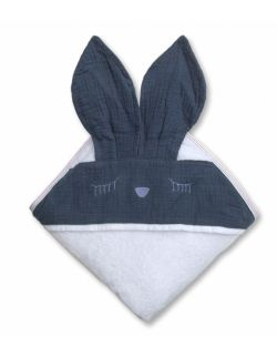 Hi Little One - Ręcznik z kapturem 100 x 100 SLEEPY BUNNY hooded bath towel Navy