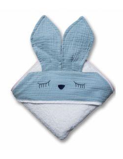Hi Little One - Ręcznik z kapturem 100 x 100 SLEEPY BUNNY hooded bath towel Blue