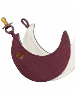 Hi Little One - Przytulanka dou dou z zawieszką z organicznej BIO bawełny GOTS cozy muslin pacifier keeper Moon Lavender