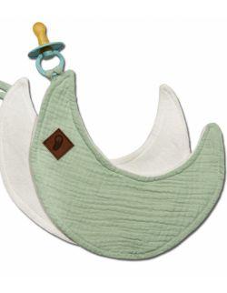 Hi Little One - Przytulanka dou dou z zawieszką z organicznej BIO bawełny GOTS cozy muslin pacifier keeper Moon Mint