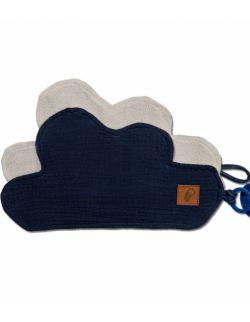 Hi Little One - Przytulanka dou dou z zawieszką z organicznej BIO bawełny GOTS cozy muslin pacifier keeper Cloud Navy