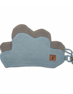 Hi Little One - Przytulanka dou dou z zawieszką z organicznej BIO bawełny GOTS cozy muslin pacifier keeper Blue