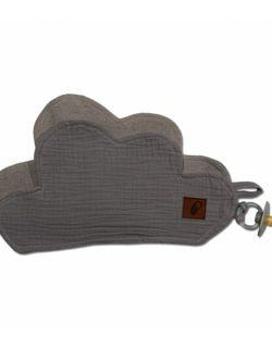 Hi Little One - Przytulanka dou dou z zawieszką z organicznej BIO bawełny GOTS cozy muslin pacifier keeper Grey