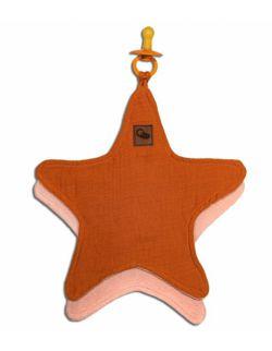 Hi Little One - Przytulanka dou dou z zawieszką z organicznej BIO bawełny GOTS cozy muslin pacifier keeper Star Pumpkin
