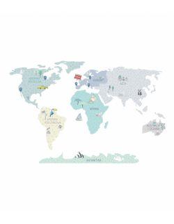 Naklejka MAPA świata - miętowa L