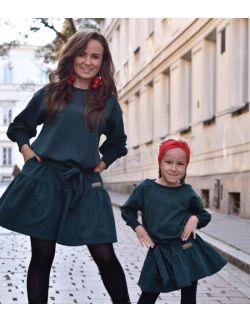 komplet luźnych sukienek z falbaną dla mamy i córki KOLOR BUTELKOWEJ ZIELENI