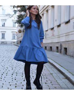 luźna sukienka damska z falbaną - NIEBIESKA