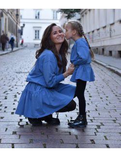 komplet luźnych sukienek dla mamy i córki - NIEBIESKI KOLOR