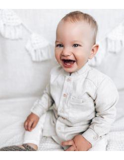 szara elegancka lniana koszula z długim rękawem dla chłopca