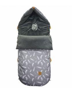 Śpiworek Zimowy Dark Grey Feathers Velvet L/XL (1-3 Lat)
