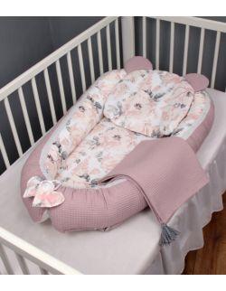 Wafelek Kokon Zestaw niemowlęcy 3 el. Peonie Jasne