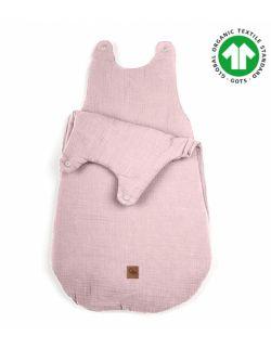 Hi Little One - śpiworek z organicznej BIO bawełny oddychającej GOTS NEWBORN SLEEPBAG BLUSH muslin cotton TOG 3,5 wiek 0 m+