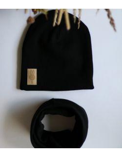 komplet czapka i komin CZARNY USZYTEK
