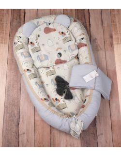 Zestaw niemowlęcy wafel kokon poduszka kocyk 3el. Misie i Balony