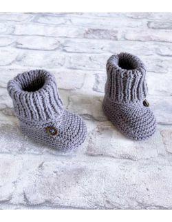 Szare wełniane buty skarpety niemowlęce