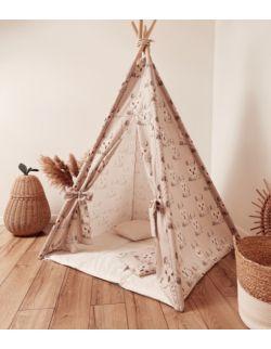 Tipi namiot dziecięcy - Bawełna szaro-beżowa w sowy OH BABE