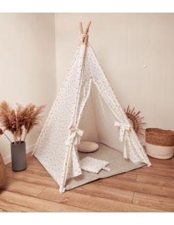 Tipi namiot dziecięcy - Biała bawełna w gwiazdki OH BABE