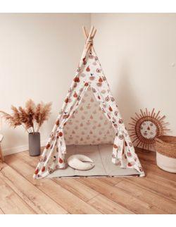 Tipi namiot dziecięcy - Bawełna w gruszki i jabłuszka OH BABE