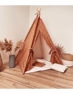 Tipi namiot dziecięcy - Bawełna karmelowa w tęcze OH BABE