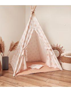 Tipi namiot dziecięcy - Bawełna w różowe kwiaty OH BABE