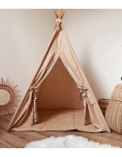 Tipi namiot dziecięcy - Kawowa certyfikowana bawełna OH BABE