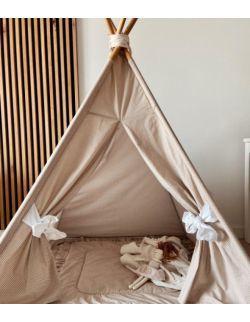 Tipi namiot dziecięcy - TEEPEE - Groszki cappuccino certyfikowana bawełna OH BABE