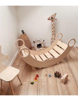 Duży bujak dziecięcy 5w1 ROCKER - bujak, drabinka, biurko, zjeżdżalnia i ścianka wspinaczkowa OH BABE