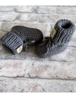 Wełniane wiązane buty skarpety niemowlęce
