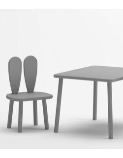 Stolik i 2 krzesełka z uszami królika w kolorze szarym