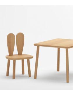 Stolik i 2 krzesełka z uszami królika - buk